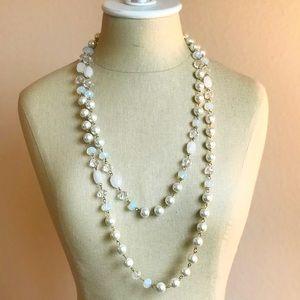 Elegant Pearl & Beaded Long Necklace